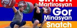 Simon Martirosyan 175kg Snatch & Gor Minasyan 195kg Power Clean & Jerk 2017 Europeans Training Hall