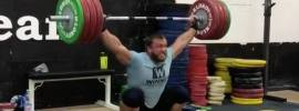 Dmitry Klokov 190kg hang snatch plus overhead squat