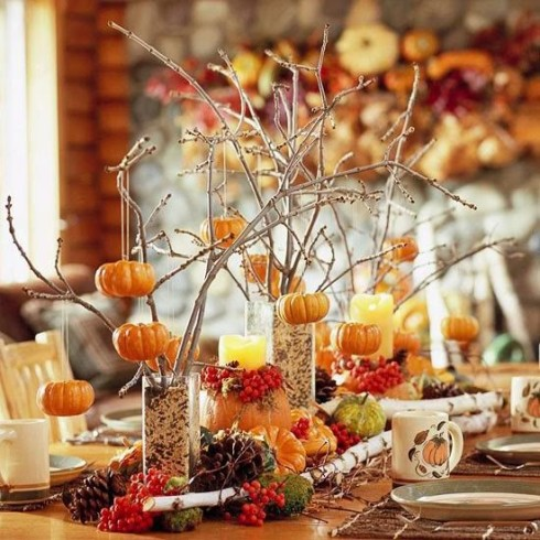 Decorating with pumpkins