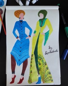 Hijab Fashion Sketch 1 - Long Front open Modest outfit in yellow and Blue Knee legth tunic