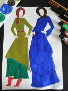 hijab style sketch of blue gown and olive green tunic and baggy pants