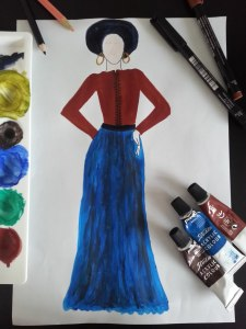 Skirt dress brown and blue sketch