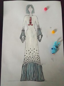 Sketch of White designer gown OOTD hijab style
