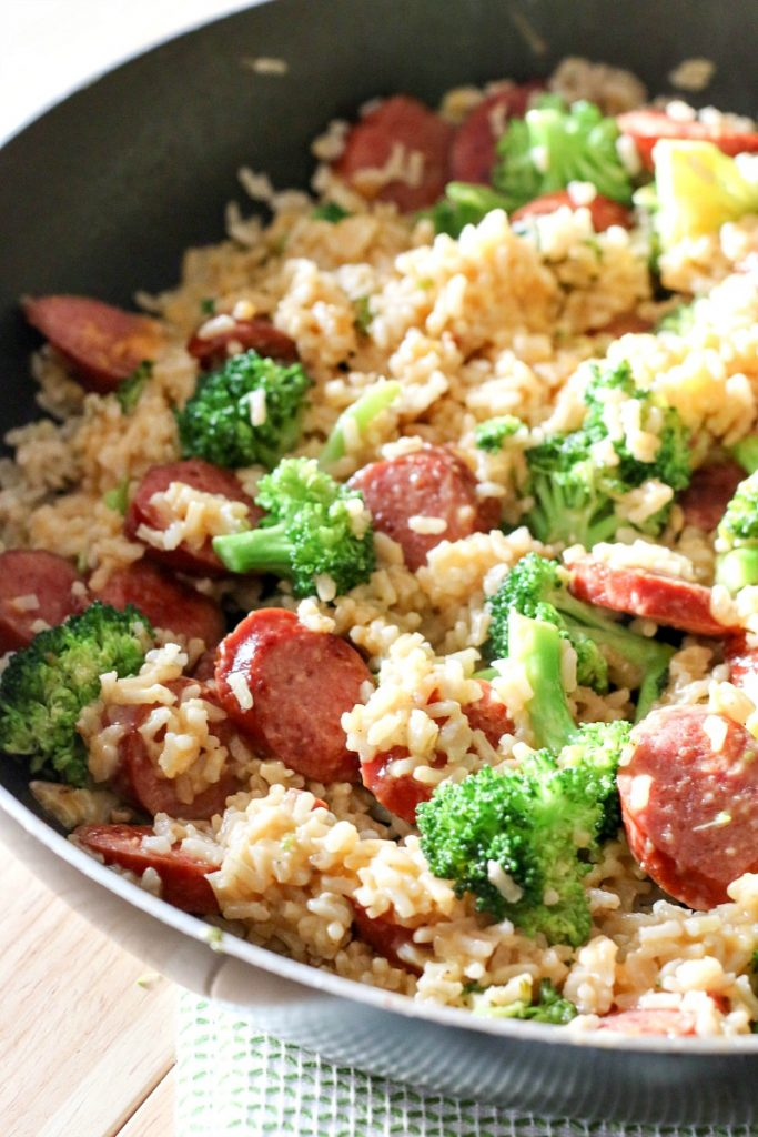 cheap meal ideas, smoked sausage and rice skillet, easy dinner ideas, budget meals for large families