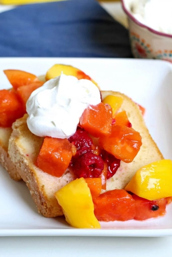 Pound Cake with Fruit and Whipped Cream