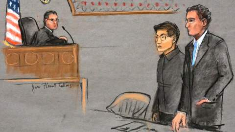 Ryan Lin during his trial in Massachusettes
