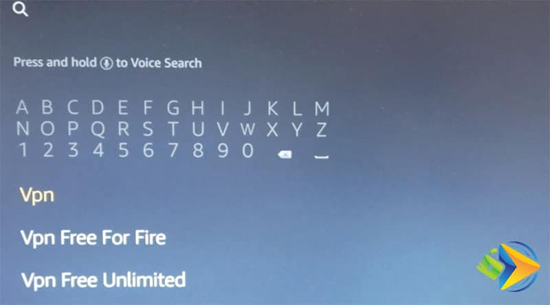 Search for 'vpn' in the Amazon Fire TV search box