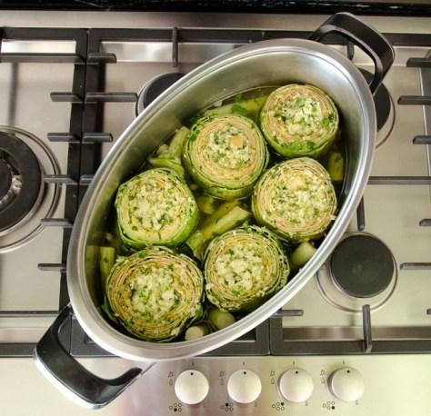 Artichokes on cooktop 2