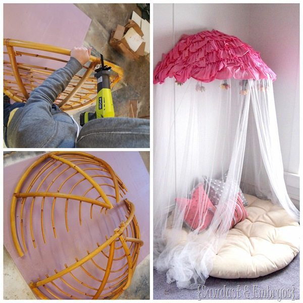 Papasan Chair into Reading Nook  Canopy  All Things Thrifty