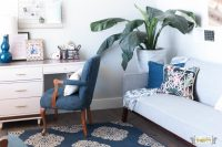 Jos Living Room: Navy, Pink, Gold, Grey, and White!