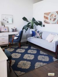 Navy, Pink, Gold, White and Grey Living Room Sources