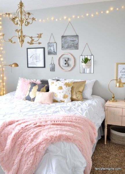 gold and pink girls bedroom ideas 16 Colorful Girls Bedroom Ideas