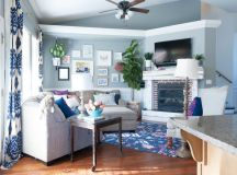 Navy, Pink, and Gray Living Room Decor Ideas-15 | All ...
