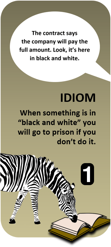idiom quiz in black and white all