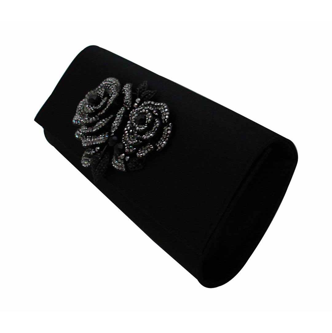 Black Satin Crystal Rose Clutch Purse Evening Bag