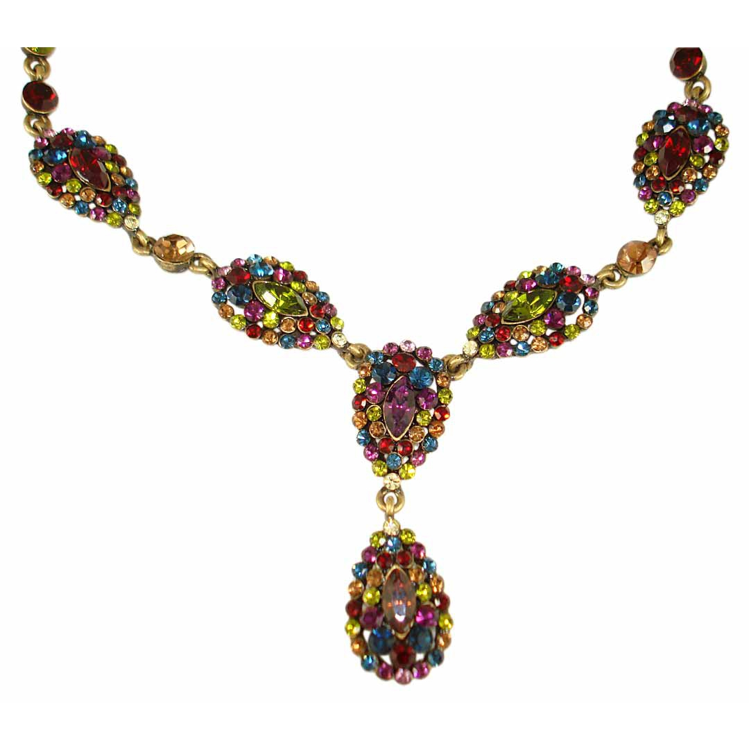 Vintage Style Necklace Set with Swarovski Crystals  Multi