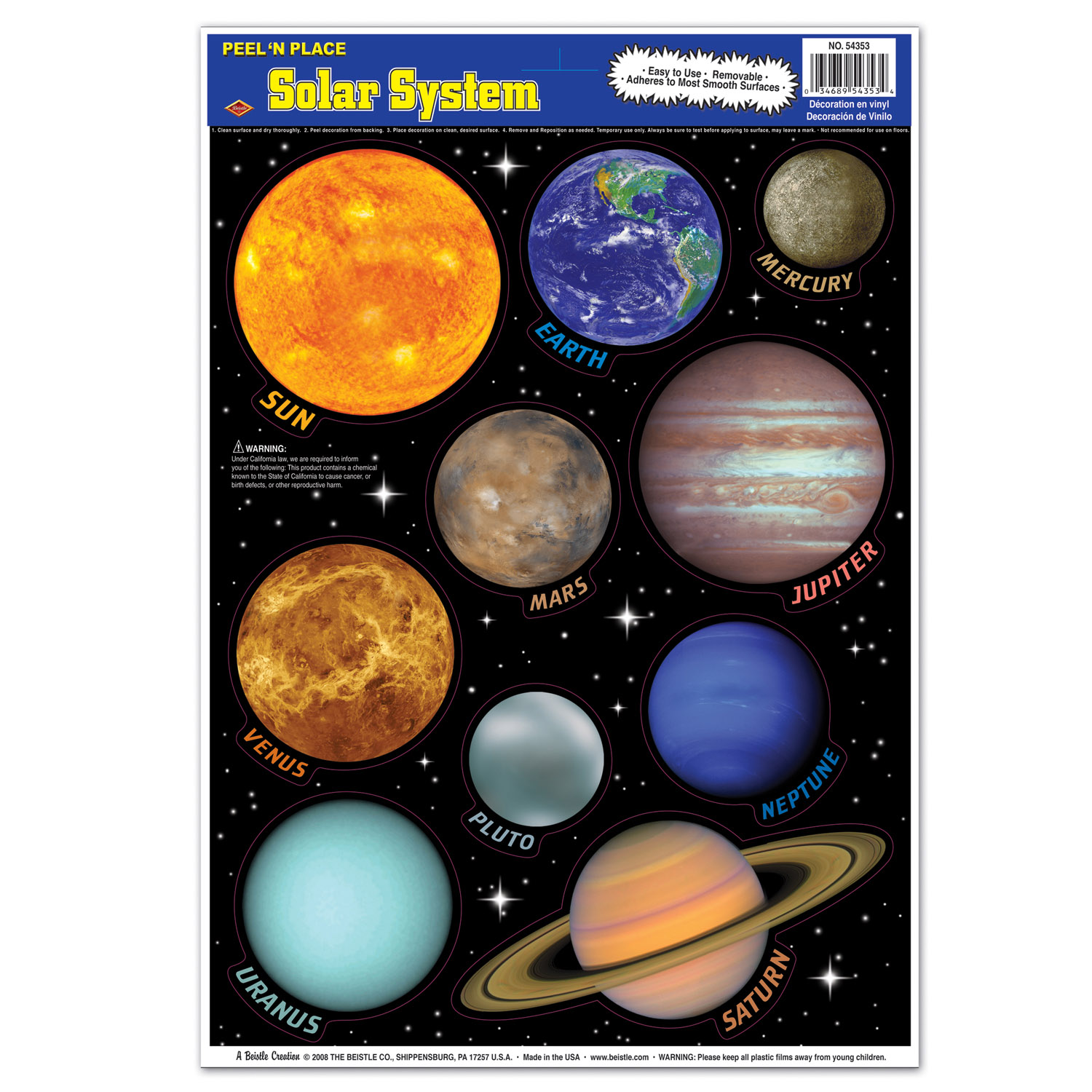 12 Units Of Solar System Peel N Place