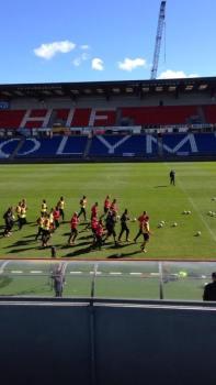 Spelarna under dagens träning Foto: Emil Carlsvärd