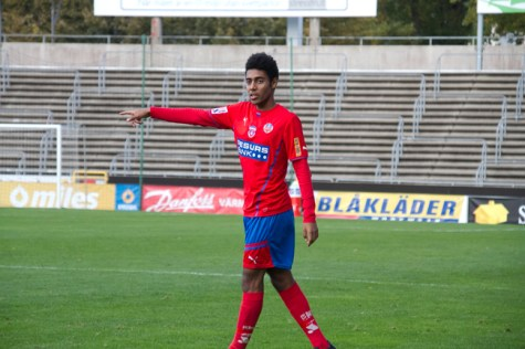 Yonathan Getachew gjorde U21s mål i matchen på frispark Foto: Samone Klinteberg