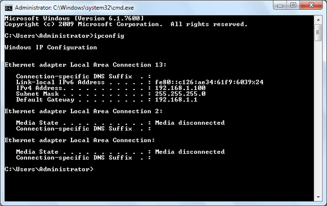Get Network Details - Command Prompt