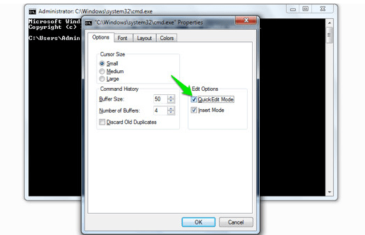 Quick Edit Mode in Command Prompt