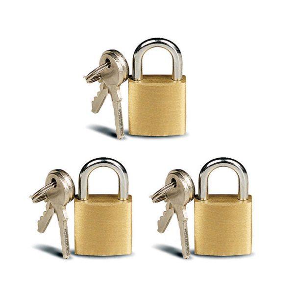 3 Small Metal Padlocks Mini Brass Tiny Box Locks Keyed
