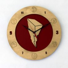 "Premade 14"" Wood Mighty Morphin' Power Rangers Symbol Wall Clock"