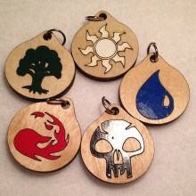 Magic the Gathering Mana Wooden Necklaces and Pendants