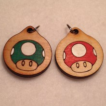 Mario Mushroom Wooden Necklaces and Pendants