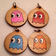 Pacman Ghost Group Wood Necklace