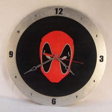 "14"" Wood Deadpool Black Background Build-A-Clock"