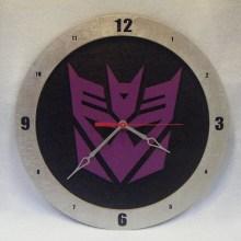 "14"" Wood Decepticon Symbol Black Background Build-A-Clock"