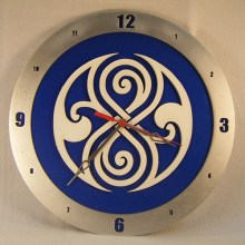 "14"" Wood Gallifreyan Doctor Who Blue Background Build-A-Clock"
