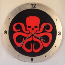 "14"" Wood Hydra Symbol Black Background Build-A-Clock"