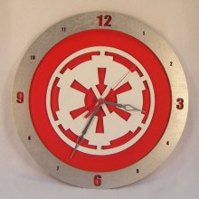 "14"" Wood Galactic Empire Star Wars Red Background Build-A-Clock"