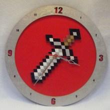 Minecraft Sword Red Background Clock