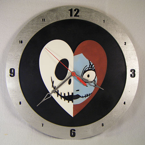Jack and Sally Heart Black Background Clock