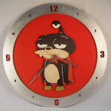 Nibbler Futurama red background, 14 inch Build-A-Clock