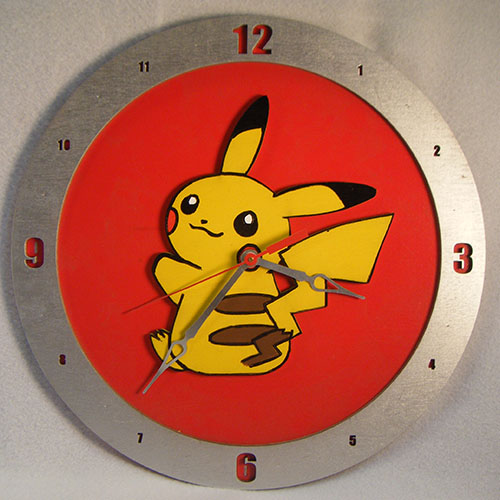 Pikachu Red Background Clock