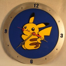 Pikachu Blue Background Clock
