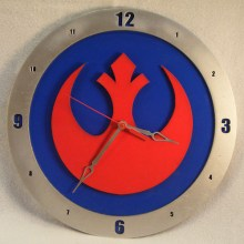 "14"" Wood Rebel Alliance Symbol Star Wars Blue Background Build-A-Clock"