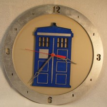 Tardis Dr. Who beige background, 14 inch Build-A-Clock