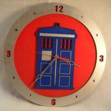 TARDIS Red Background Clock