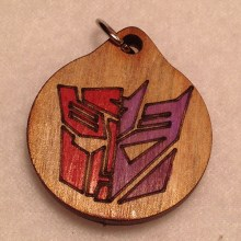 Auto-Con Red and Purple Wood Necklace and Pendant