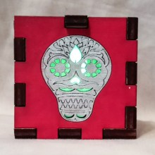 Sugar Skull red lit green