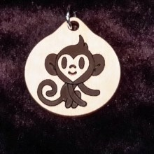 Monkey Boy Wooden Necklace and Pendant