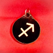 Sagittarius Zodiac Symbol Wood Necklace and Pendant