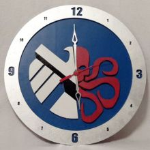 "14"" Wood Half S.H.I.E.L.D., Half Hydra Symbol Blue Background Build-A-Clock"
