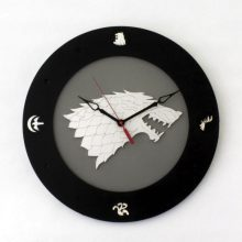 "Premade 14"" Wood Game of Thrones Direwolf Wall Clock"