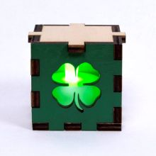 Clover Symbol Wood Lit Green LED Tea Light